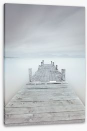 Pier on the frozen lake Stretched Canvas 47399497