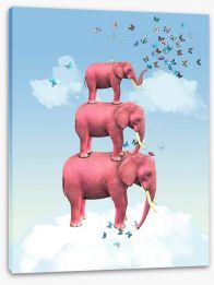 Pink elephants and butterflies Stretched Canvas 47922121