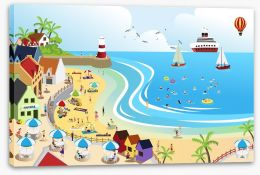 The seaside town Stretched Canvas 48841267