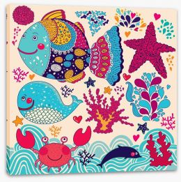 Ocean life Stretched Canvas 49388585