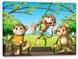 Three mischievous monkeys Stretched Canvas 49579247