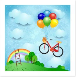 Bike and balloons Art Print 49970100