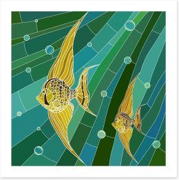 Yellow fish mosaic Art Print 50106822