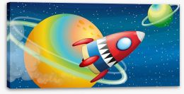 Rocket round the rings Stretched Canvas 50740483