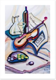 Violin and wine Art Print 50809631