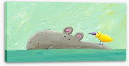Hippo and bird Stretched Canvas 51172529
