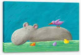 Hippo and bird Stretched Canvas 51173894