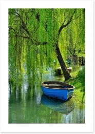Boat under the willow Art Print 52469829