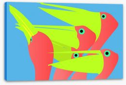 Pink and lime pelicans Stretched Canvas 5260055