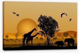 Golden safari sunset Stretched Canvas 52771839