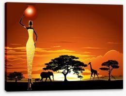 Savanna sunset Stretched Canvas 53106558