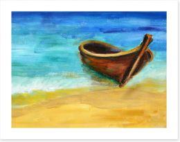 The boat on the beach Art Print 53689844