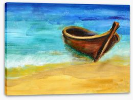 The boat on the beach Stretched Canvas 53689844
