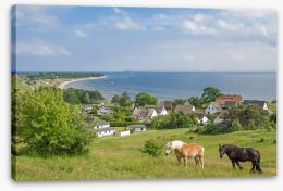 The village by the sea Stretched Canvas 53791371