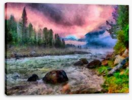 Pink dawn river Stretched Canvas 54990367