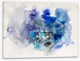 Ink blot abstract in blue Stretched Canvas 55060210