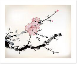 Plum blossom branch Art Print 55506686