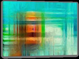 Orange on aqua Stretched Canvas 55596106