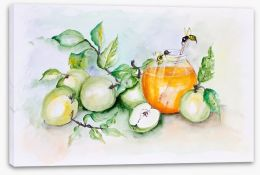 Honey bees and apples Stretched Canvas 55759369