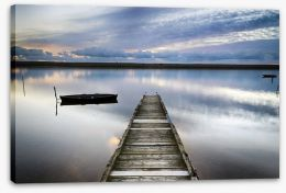 Dusk falls on the old jetty Stretched Canvas 56130091