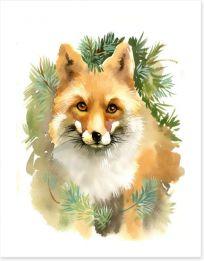 Fox and fir Art Print 57186408