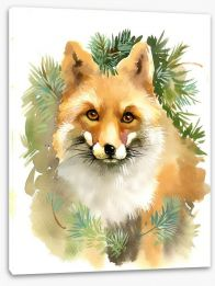 Fox and fir Stretched Canvas 57186408