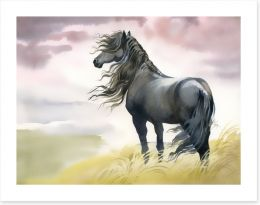 Black horse in the breeze Art Print 57953424