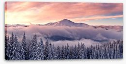 Soft mountain sunrise Stretched Canvas 58042395