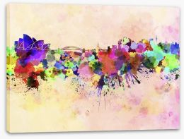 Sydney skyline watercolour Stretched Canvas 59437566