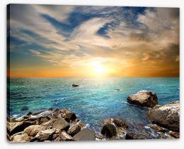 Aqua sundown Stretched Canvas 60175218