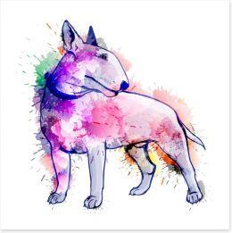 Bull terrier splash Art Print 60230557