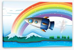 Rocket under the rainbow Stretched Canvas 60671031