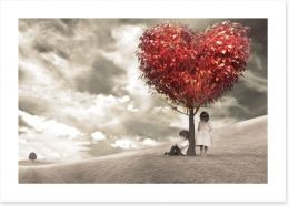 Children under love-heart tree