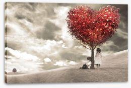 Children under love-heart tree Stretched Canvas 60828783