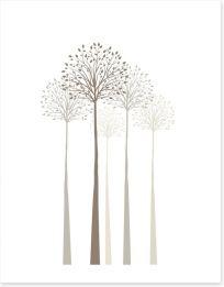 Elegant trees on white Art Print 61121269