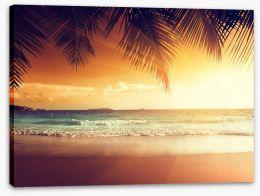 Sunset over Caribbean beach
