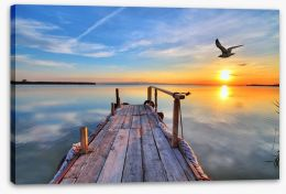 Sunrise at the lake of dreams Stretched Canvas 61415588