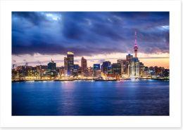 Auckland skyline at dusk Art Print 62259480