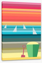 Bucket on the beach Stretched Canvas 62430786