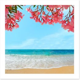 Oleanders on the beach Art Print 62577159