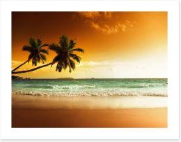 Orange sunset over the Caribbean sea Art Print 62620568