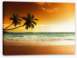 Orange sunset over the Caribbean sea Stretched Canvas 62620568