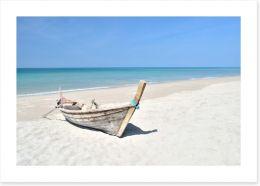 Longtail boat on the beach Art Print 62876585