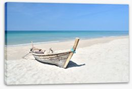 Longtail boat on the beach Stretched Canvas 62876585