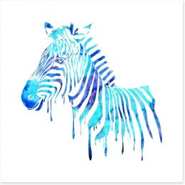Dripping zebra blue Art Print 62934266