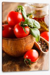 Tomatoes and basil Stretched Canvas 63298875