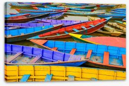 Colourful rowing boats Stretched Canvas 63302573