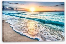 Sunrise over Cancun beach Stretched Canvas 64168411