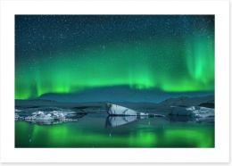 Icebergs under Northern Lights Art Print 64251385