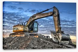 Excavator at dusk Stretched Canvas 66120964